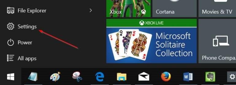 Ouvrez les paramètres Windows 10