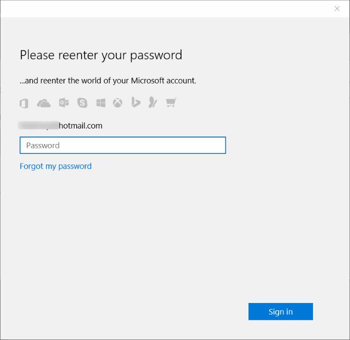 Entrez le mot de passe Windows 10
