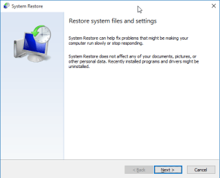 System Restore Point Wizard