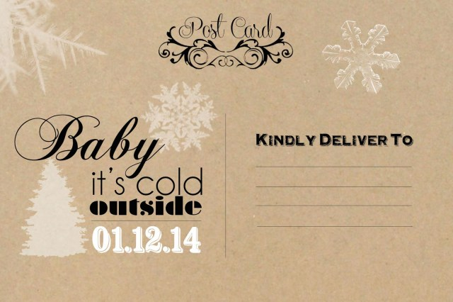 Etsy Postcard Baby It's Cold Outside Shower