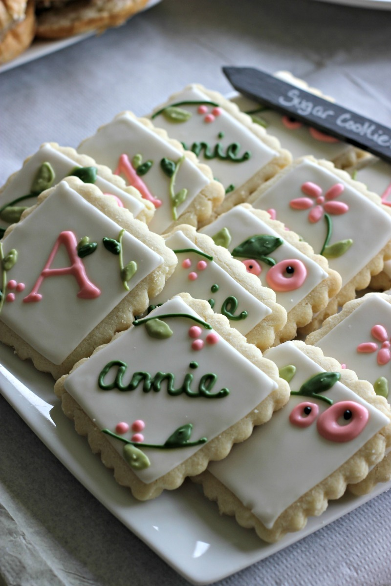 Baby Girl Garden Baby Shower Theme Cookies #babyshowerfood #babyshowerdessertideas