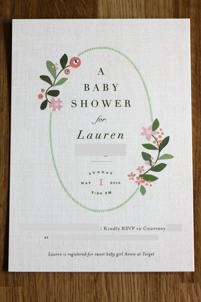 Floral Minted Baby Shower Invitations