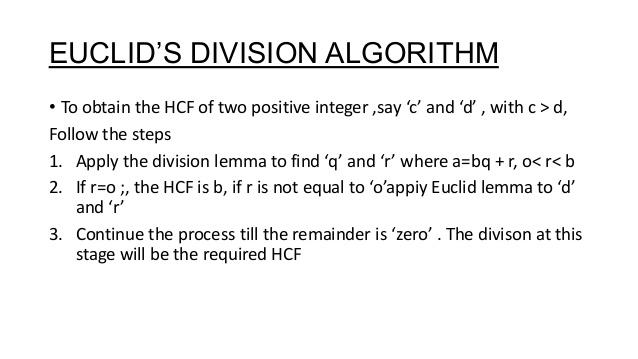 What is Euclid Division Algorithm - A Plus Topper