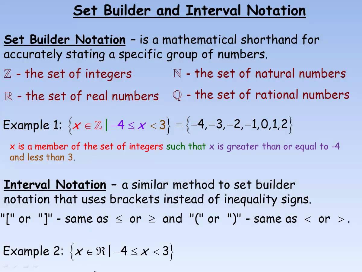 Set Builder Amp Interval Notation