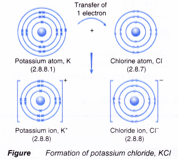 figure shows the transfer of one electron from a potassium atom to a  chlorine atom to form the ionic compound potassium chloride