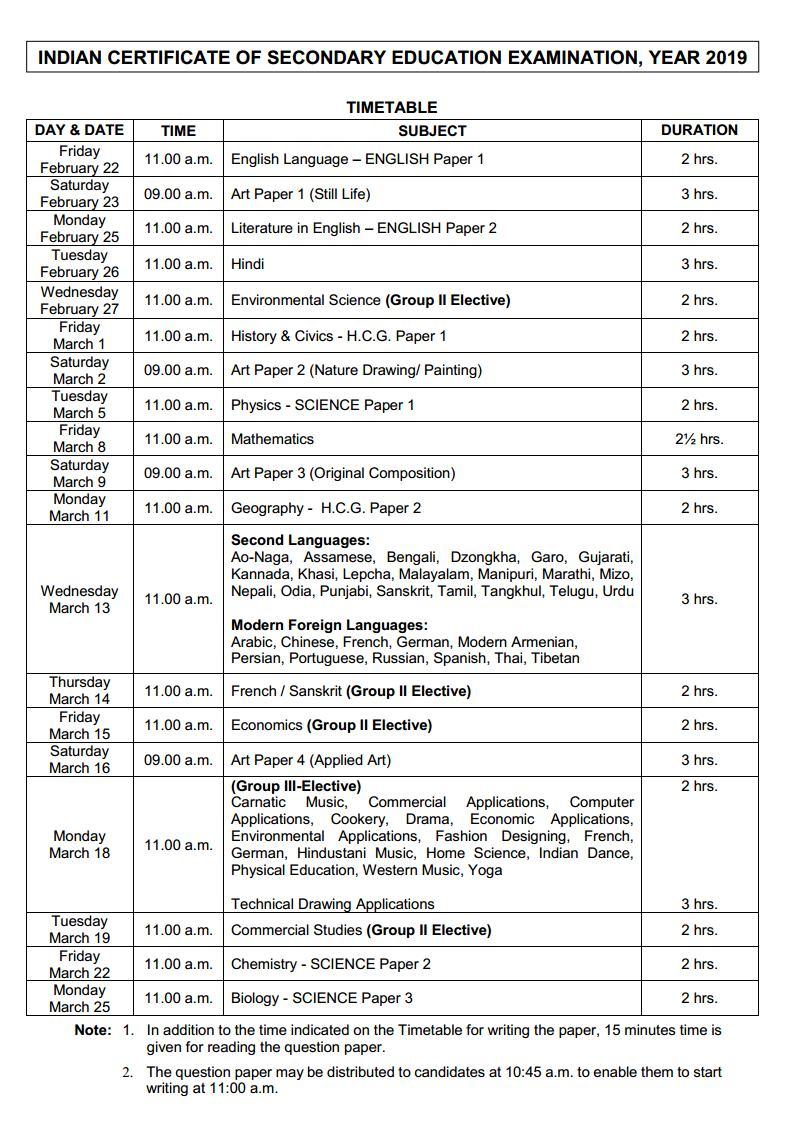 ICSE Board Exam Time Table 2019