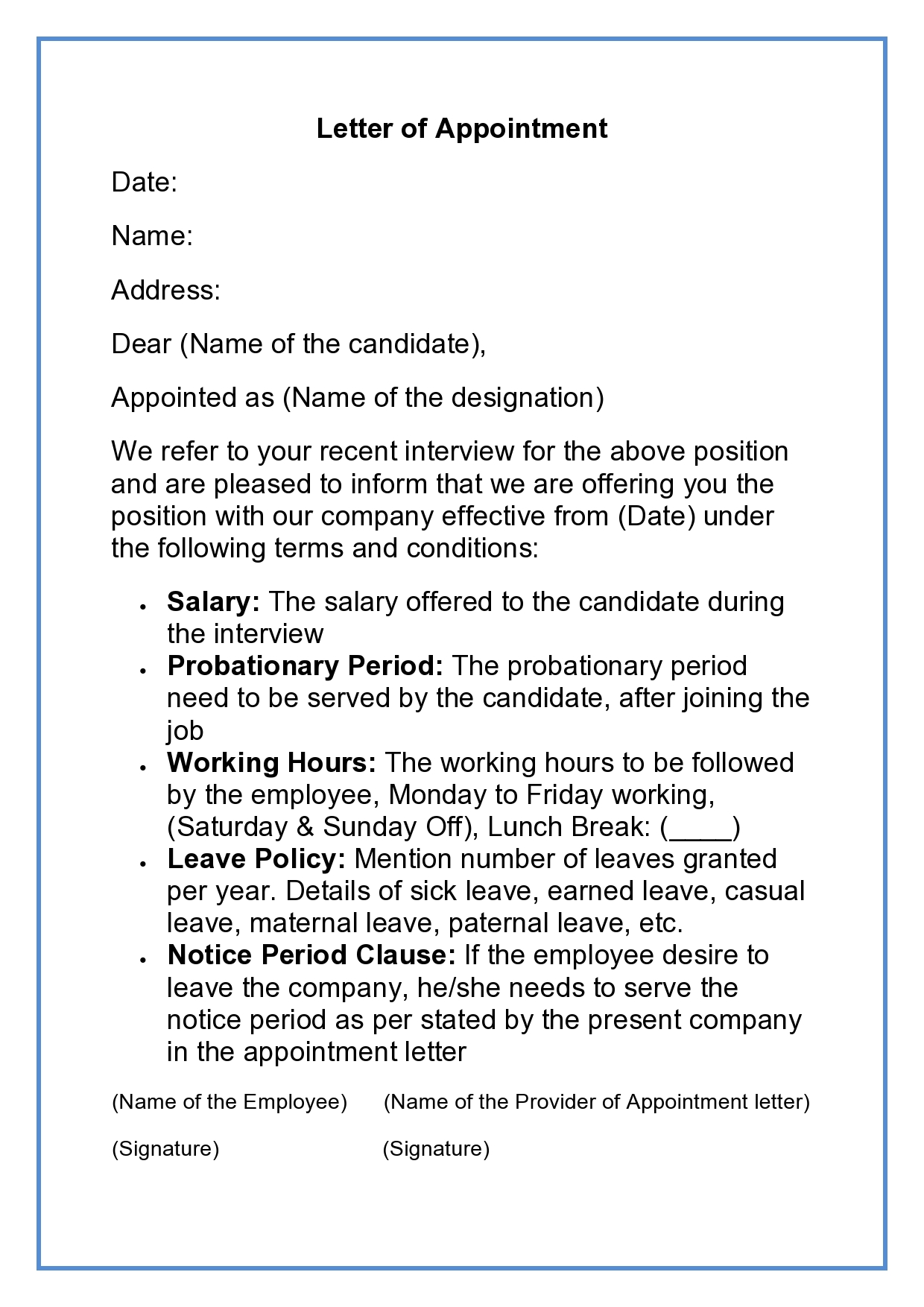 Appointment Letter Job Appointment Letter Format Sample