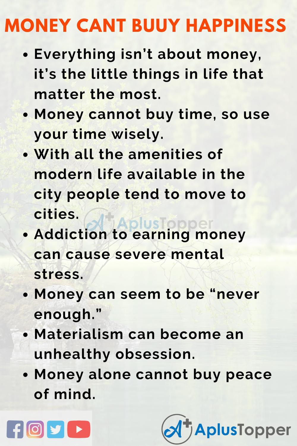 Short Essay on Money Can't Buy Happiness 150 Words in English