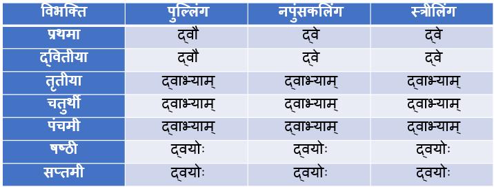 Do/Dwi Ke Shabd Roop In Sanskrit