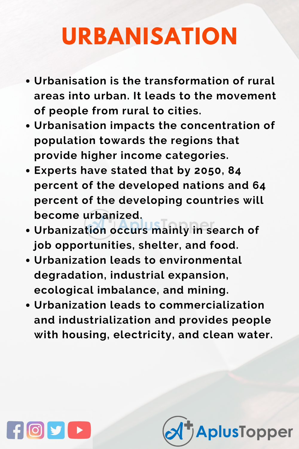 Essay on Urbanization
