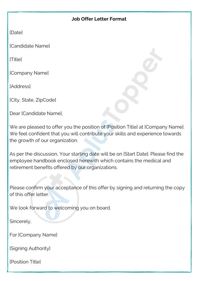 Offer Letter Format  Job Offer Letter Format, Samples, Template