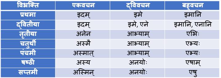 Idam Napunsak Ling Shabd Roop In Sanskrit