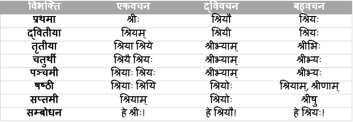 Shree Shabd Roop In Sanskrit