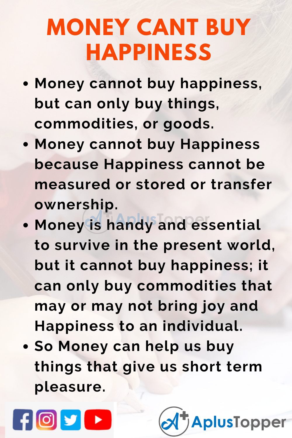 10 Lines on Money Can't Buy Happiness for Kids