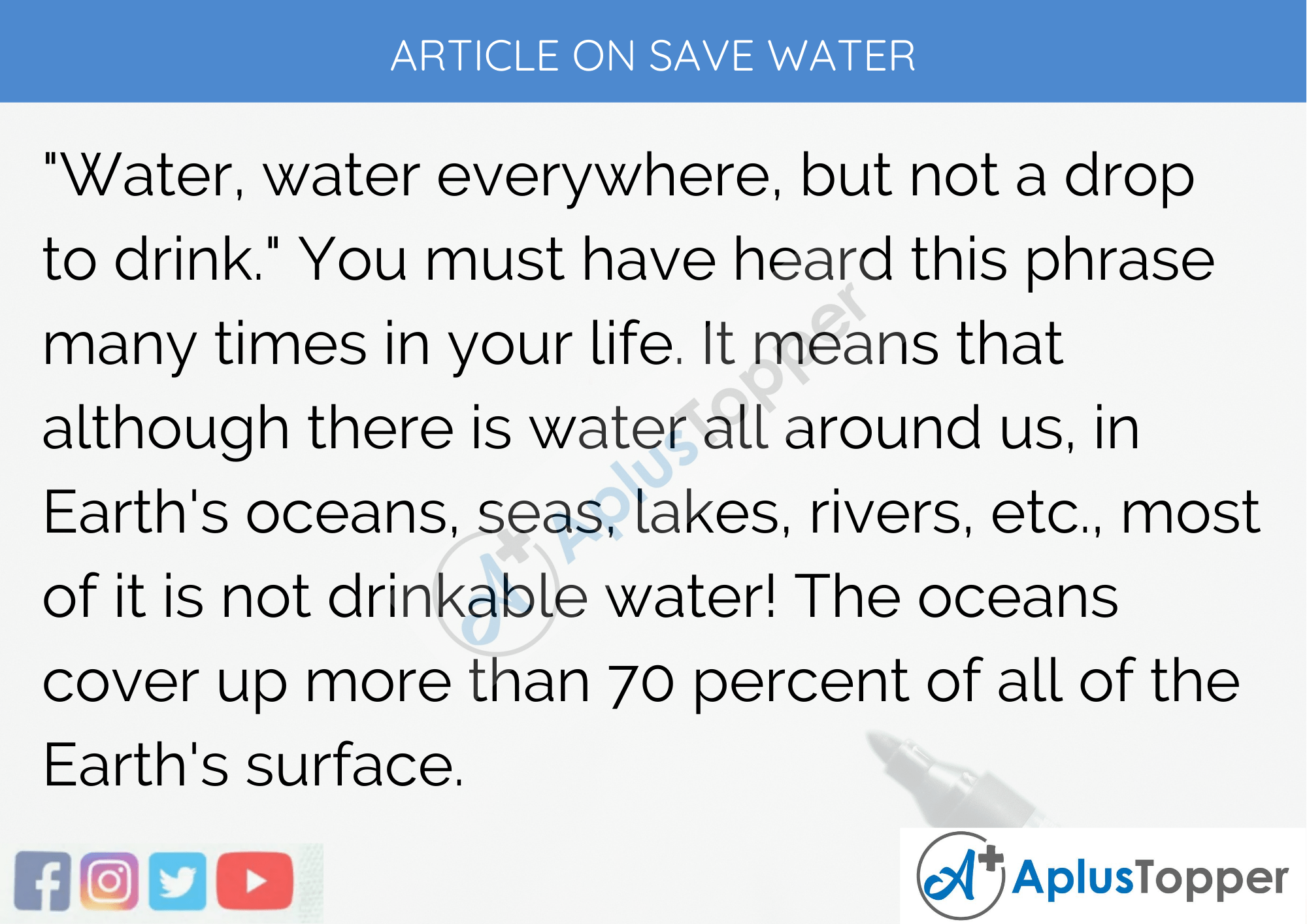 Long Article on Save Water 500 Words in English