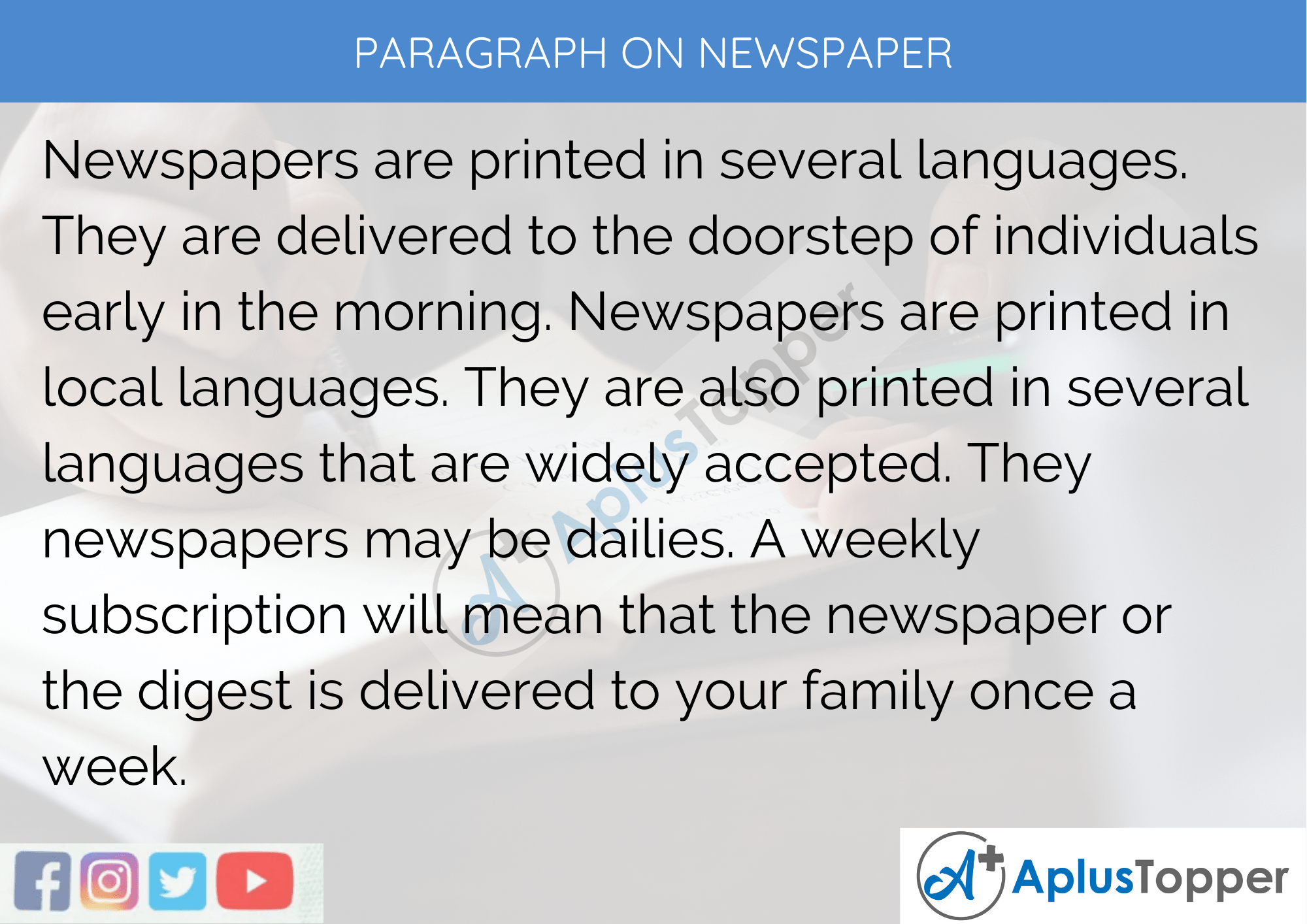 Paragraph On Newspaper - 100 Words for Classes 1, 2, 3 Kids