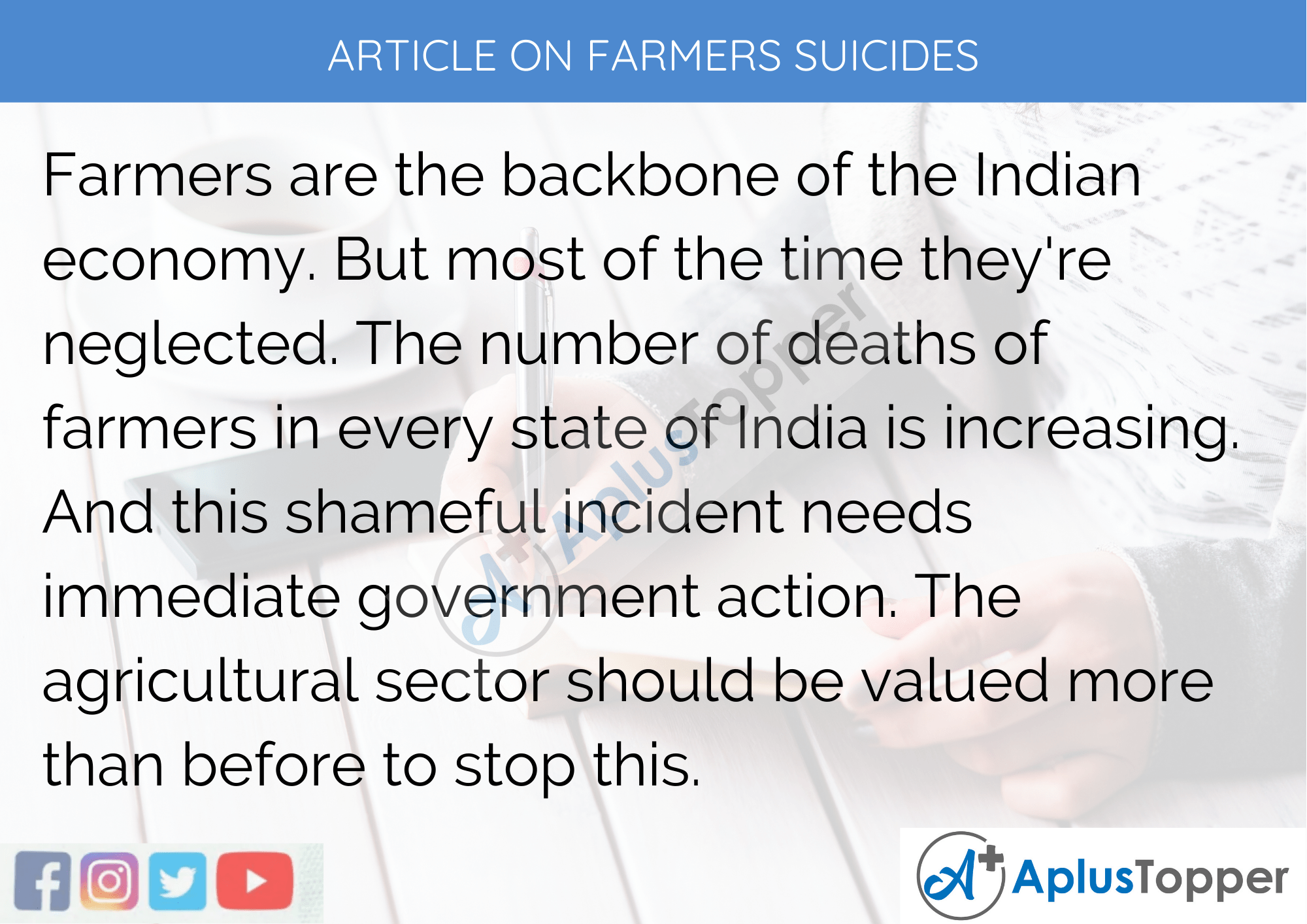 Short Article on Farmers Suicides 200 Words in English