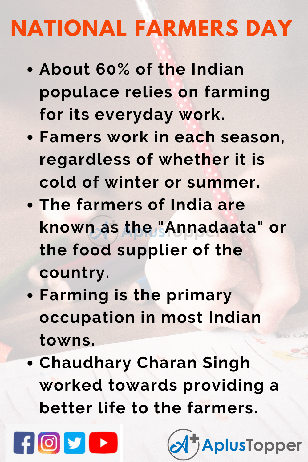 10 Lines On National Farmers' Day for Kids