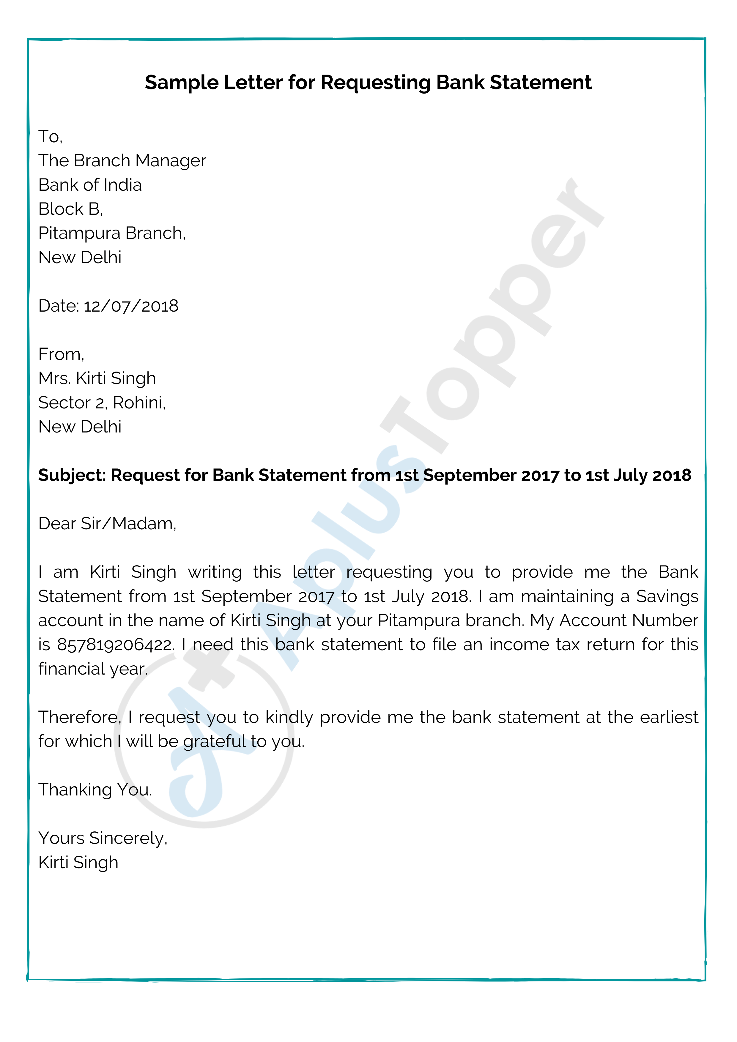 Letter for Requesting Bank Statement