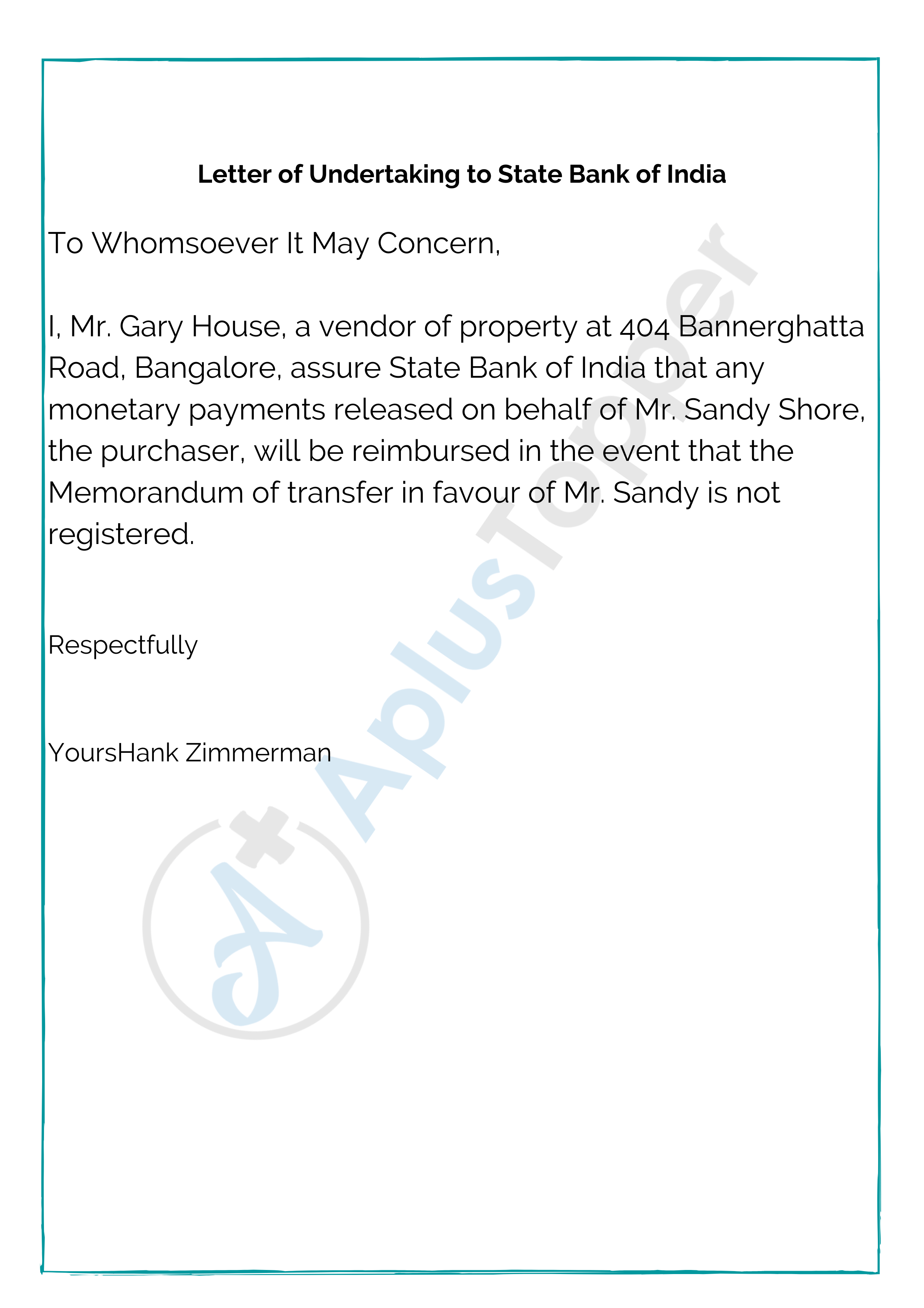 Letter of Undertaking to State Bank of India