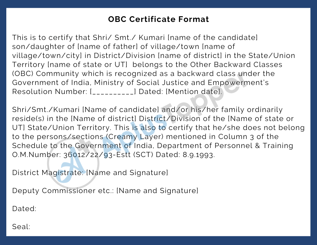 OBC Certificate Format