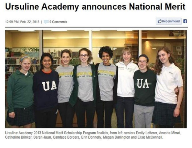 Ursuline Academy national merit Scholarships