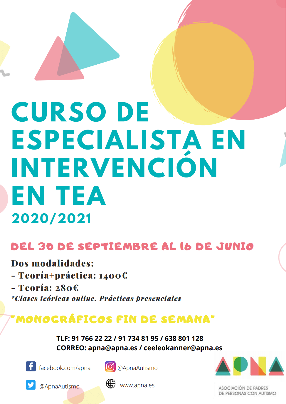 CURSO DE ESPECIALISTA EN INTERVENCIÓN EN TEA