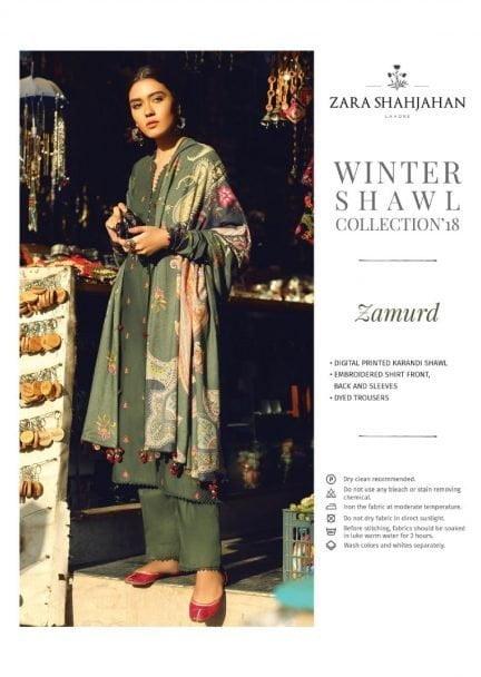 ZARA SHAHJAHAN LUXURY SHAWL COLLECTION 2018 ZAMURD 06