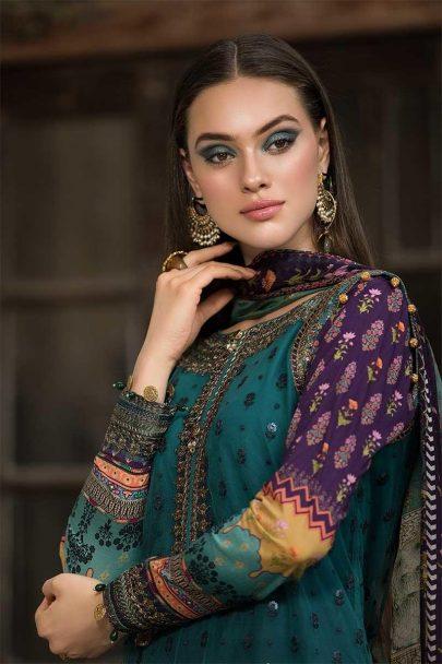 MARIA B Unstitched Eid Lawn 2019 D-603-Teal