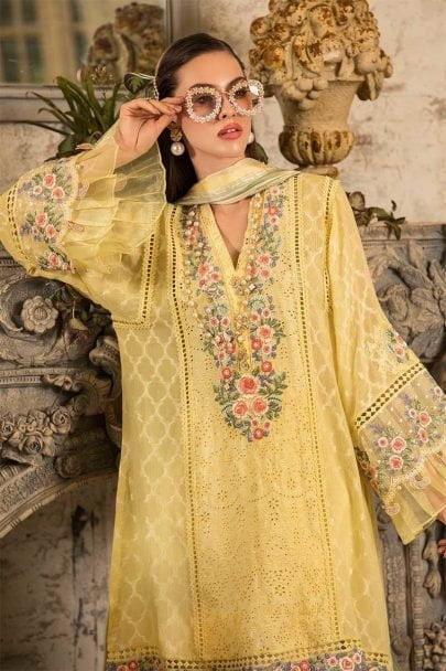MARIA B Unstitched Eid Lawn 2019 D-610-Yellow