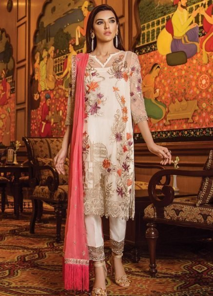 Serene Premium Embroidered Chiffon Festive Collection 2019 07 Floral tale