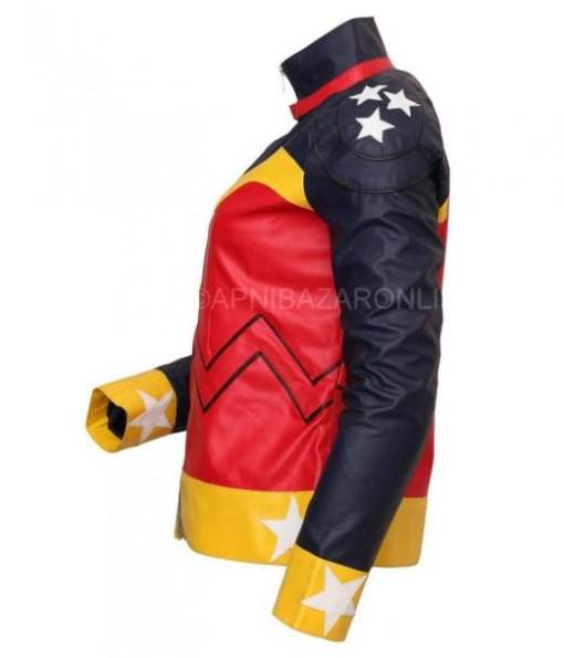Women Black and Red Genuine Leather Jacket DWLJ-05