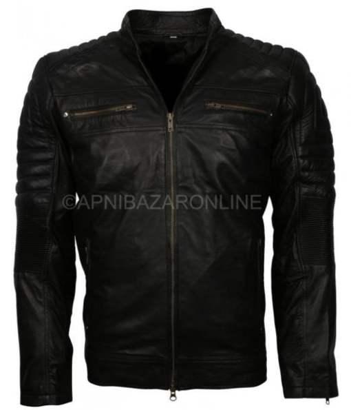Mens Slim Fit Black Retro Biker Soft Real Leather Jacket DMLJ-03
