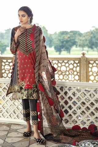 Sheesh Mahal by Cross Stitch Embroidered Lawn Unstitched 3 Piece Suit CSL20 07 Carmine Folk – Lawn Collection