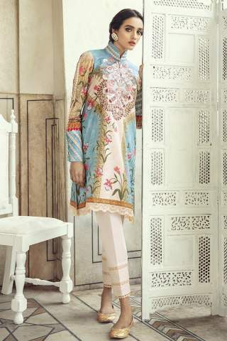 Sheesh Mahal by Cross Stitch Embroidered Lawn Unstitched 3 Piece Suit CSL20 24 Demasque Sky - Lawn Collection