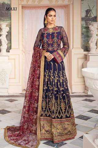 Falaknuma by Iznik Embroidered Chiffon Unstitched 3 Piece Suit IZFC20 06 AZRAQ – Wedding Collection