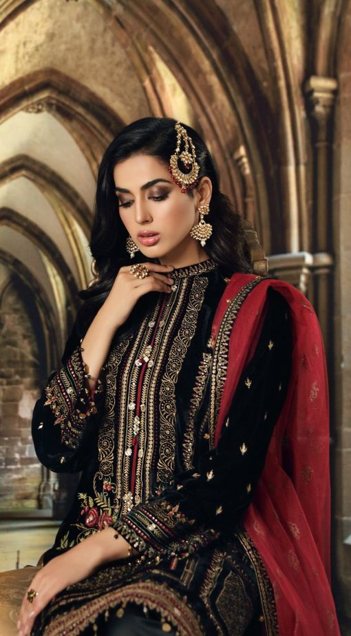 Anaya Velour De Luxe Embroidered Velvet Unstitched 3 Piece Suit 2020 01 – Winter Collection