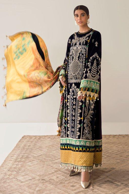 Elan Embroidered Velvet Unstitched 3 Piece Suit 2020 03 Druantia – Winter Collection