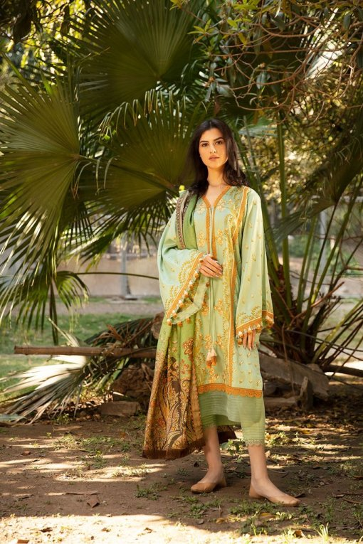 Sobia Nazir Embroidered Cottel Linen Unstitched 3 Piece Suit 2020 04B – Winter Collection