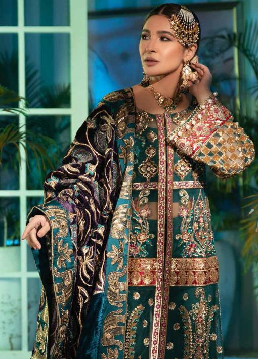 Maryam Hussain Embroidered Net Unstitched 3 Piece Suit D 01 NEAL – Wedding Collection