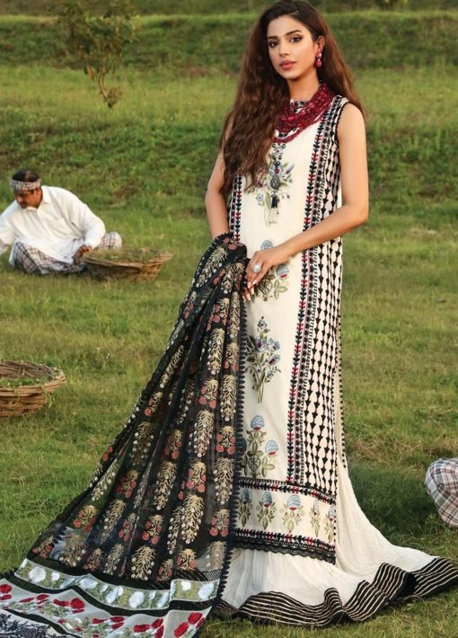 Crimson by Saira Shakira Embroidered Lawn Unstitched 3 Piece Suit 8A IVORY – Luxury Collection