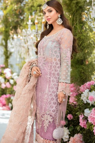Maria B Mbroidered Organza Unstitched 3 Piece Suit 2021 BD 2105 Shades of Lilac Pink and Blue grey – Eid Collection