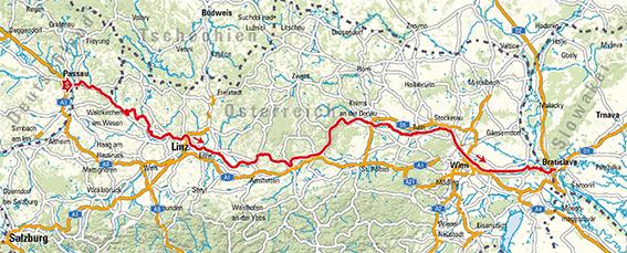 Landkarte des Donauradwegs. Passau-Linz-Wien-Krems-Bratislava. Donauradweg