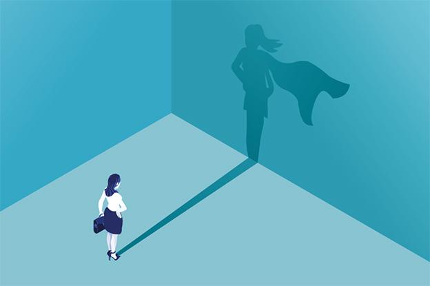 Illustration einer Frau, die Superhelden Schatten wirft. Türkis. B-Vitamine