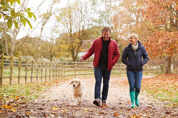 Mann und Frau gehen mit Hund im Herbst spazieren. Laub liegt am Boden, es ist feucht. Schutz gegen Erkältungen