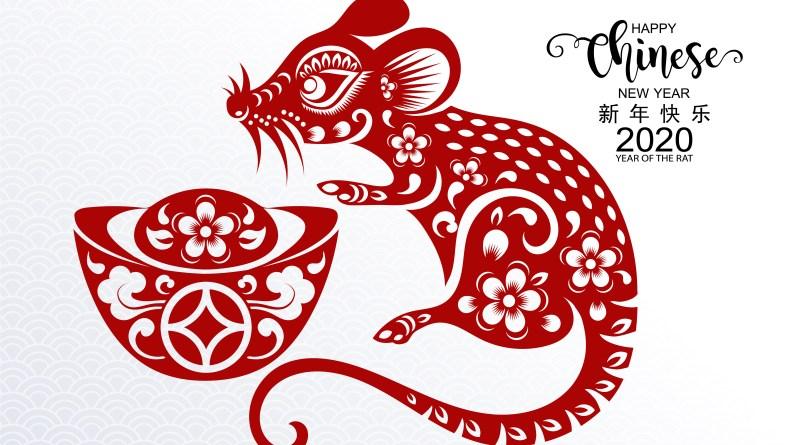 Chinesisches Horoskop Ratte. Illustration einer roten Ratte. Chinesische Ratte.