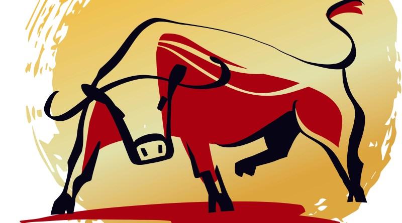 Chinesisches Horoskop Büffel. Illustration eines Büffels. Rot und gold