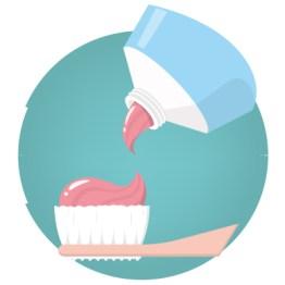 Illustration einer Zahnbürste mit Zahnpasta. Anwendung von Zahnpasta auf Zahnbürste. Türkiser Hintergrund. Parodontitis