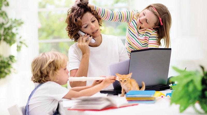 gestresste Mutter im Homeoffice. Die Kinder nerven, die Katze lenkt ab. Konzentration im Homeoffice