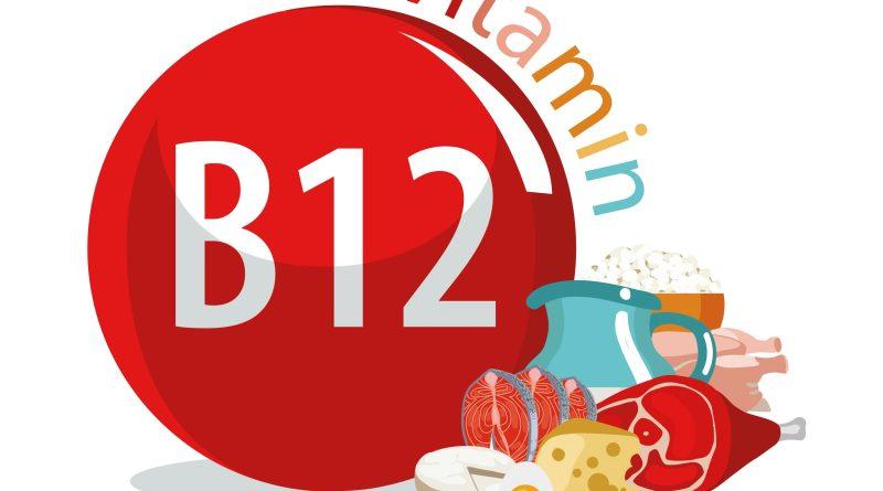 Vitamin B12 als Illustration mit Vitamin-B12-haltigen Lebensmitteln